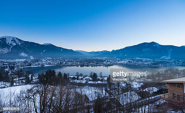 Germany, Bavaria, Tegernsee, view over the lake to Rottach Egern at dusk
