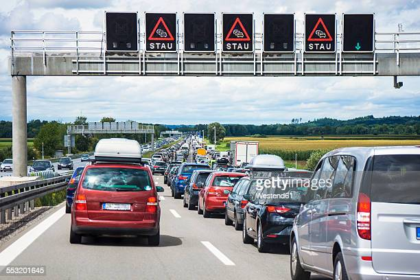 Germany, Bavaria, Traffic jam on A9 highway between Munich and Nuremberg