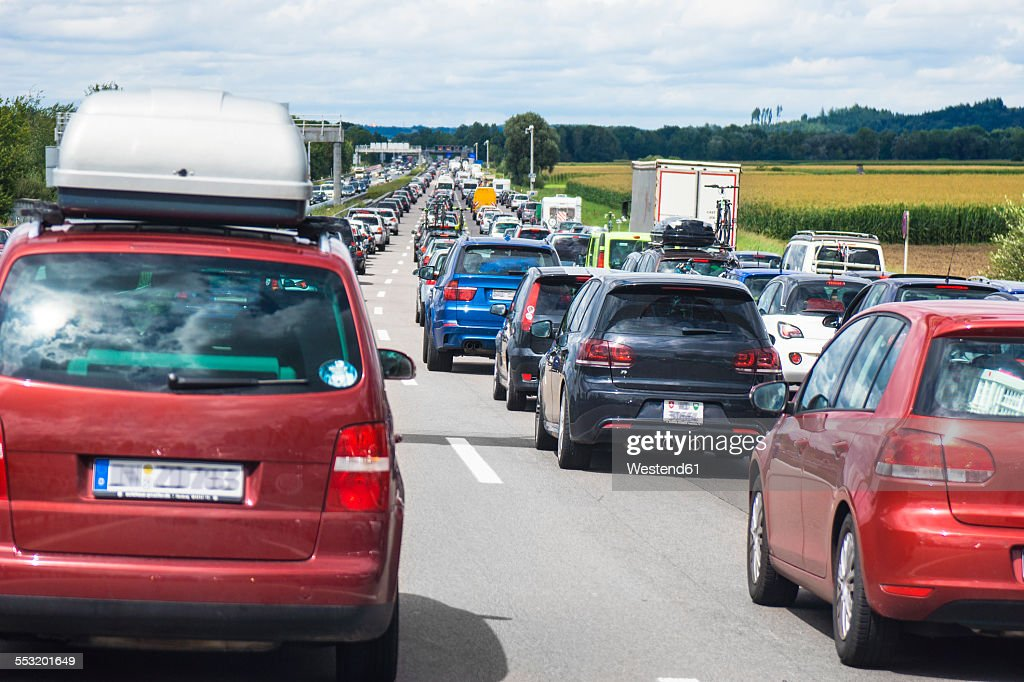 Germany, Bavaria, Traffic jam on A9 highway between Munich and Nuremberg : Stock-Foto