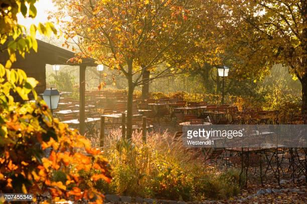 Germany, Bavaria, Tutzing, beer garden Forsthaus Ilkahoehe, autumn morning