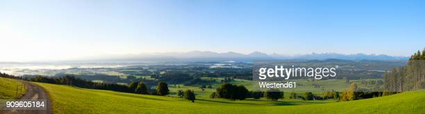 Germany, Bavaria, Upper Bavaria, Allgaeu, Pfaffenwinkel, View from Auerberg near Bernbeuren, panorama in the morning