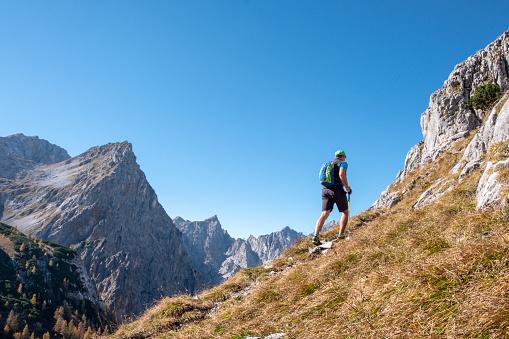 Germany, Bavaria, Upper Bavaria, Berchtesgadener Land, Berchtesgaden National Park, hiker - gettyimageskorea