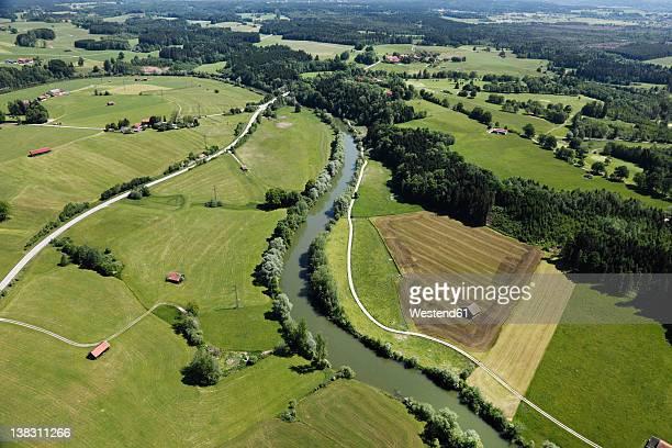 Germany, Bavaria, Upper Bavaria, Beuerberg, Aerial view of Loisach river