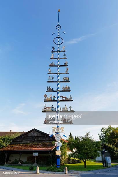 germany, bavaria, upper bavaria, chiemgau, lauterbach, maypole - maypole stock pictures, royalty-free photos & images