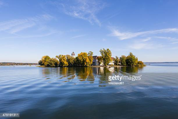 Germany, Bavaria, Upper Bavaria, Chiemgau, View of Frauenchiemsee Island