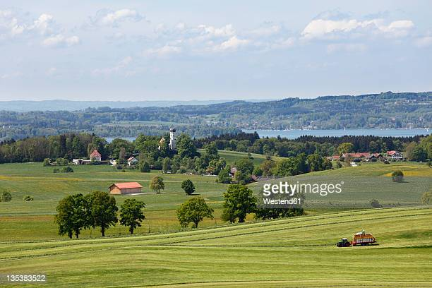 germany, bavaria, upper bavaria, holzhausen, muensing, view of meadow with lake starnberg in background - starnberg photos et images de collection