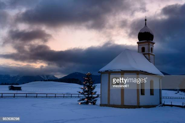 Germany, Bavaria, Upper Bavaria, Hundham, Leitzach valley, St Leonhard at Christmas time