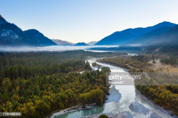 germany, bavaria, upper bavaria, isar river near sylvenstein dam in the morning - flowing water stock pictures, royalty-free photos & images