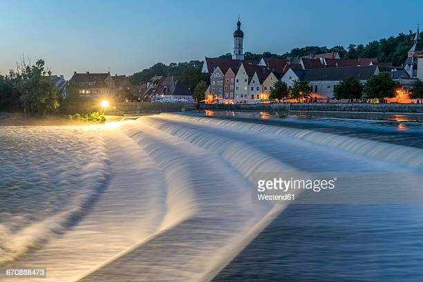 germany, bavaria, upper bavaria, lech weir and the historic centre of landsberg am lech at night - landsberg am lech stock pictures, royalty-free photos & images