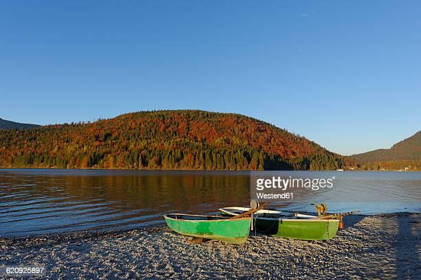 Germany, Bavaria, Upper Bavaria, Sachenbach, Herzogstand mountain, Lake Walchensee and boat