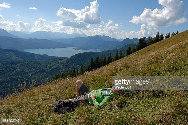 Germany, Bavaria, Upper Bavaria, Toelzer Land, Hiker at the Hirschhoernlkopf Jachenau, Walchensee lake in the background