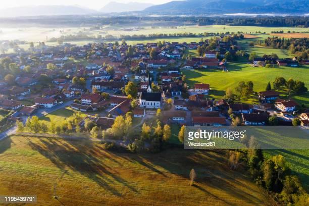 germany, bavaria, upper bavaria, toelzer land, sachsenkam, aerial view of village - dorf stock-fotos und bilder