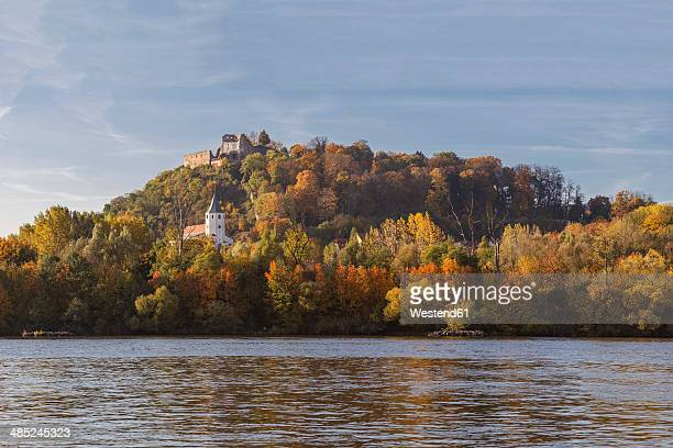 Germany, Bavaria, Upper Palatinate, Donaustauf, View of the castle ruins at Danube Valley