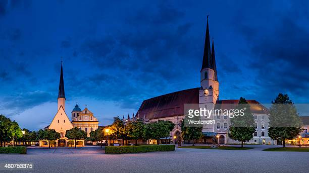 germany, bavaria, view of collegiate parish church - altötting stock photos and pictures