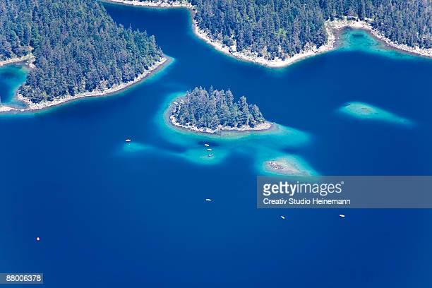 Germany, Bavaria, View of Eib lake from Zugspitze