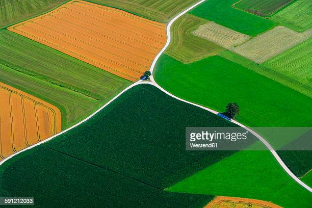 germany, bavaria, view of fields and country road, aerial view - crossroad stock pictures, royalty-free photos & images