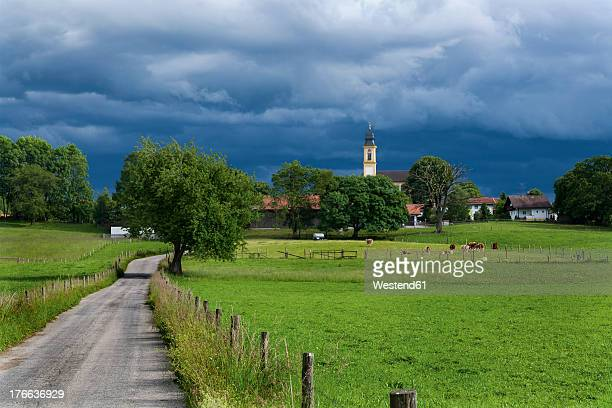 Germany, Bavaria, View of Hohenschaftlarn village and church