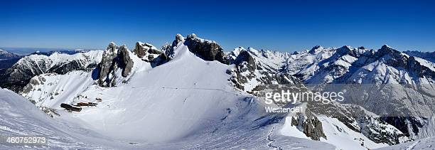 germany, bavaria, view of karwendel mountains - mittenwald stock pictures, royalty-free photos & images