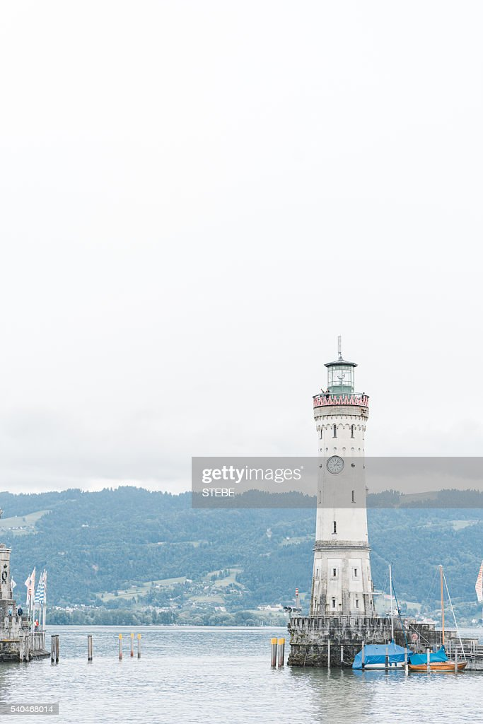 Germany, Bavaria, View of lighthouse at Lindau : Stock Photo