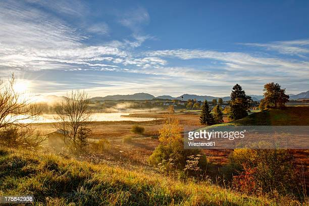 Germany, Bavaria, View of Osterseen Lakes during sunrise