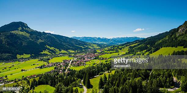 Germany, Bavaria, View of Ostrachtal valley and Imberger Horn mountain and Bad Hindelang