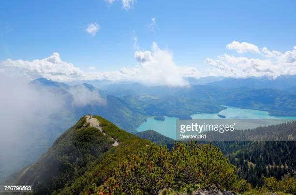 Germany, Bavaria, view on peak of Herzogstand and Lake Walchensee