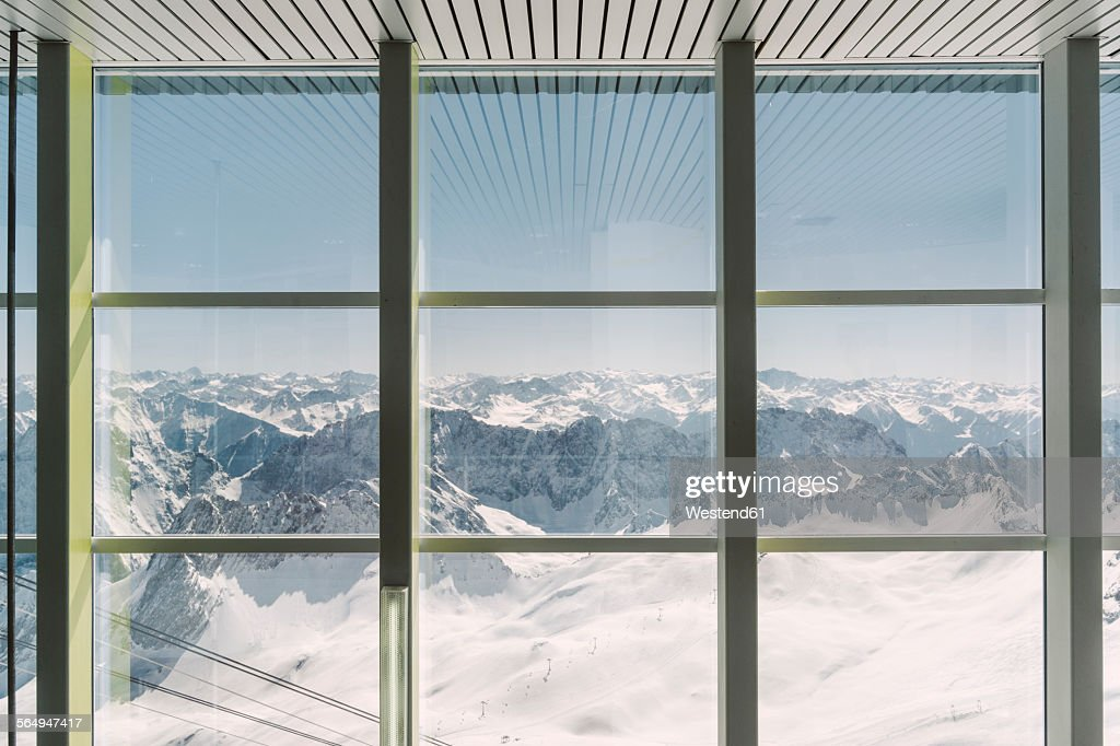 Germany, Bavaria, view through window from Zugspitze : ストックフォト