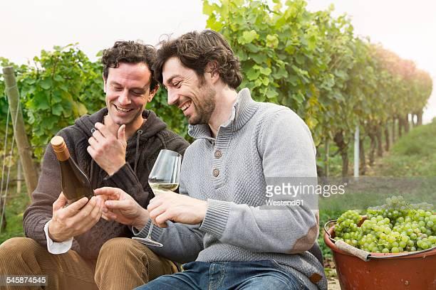 Germany, Bavaria, Volkach, two winegrowers having a break in vineyard