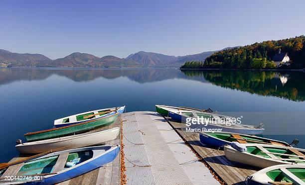 Germany, Bavaria, Walchensee, Lake Walchen, boats tied to jetty