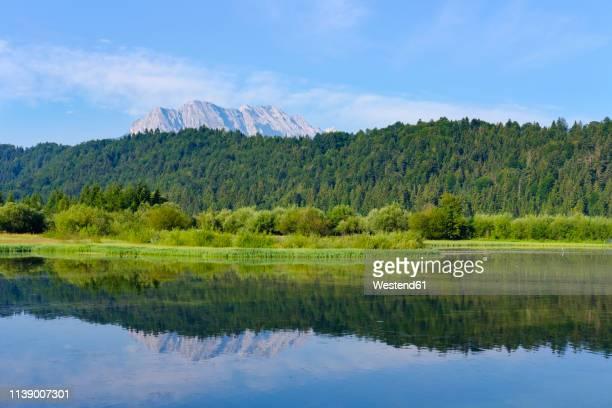 germany, bavaria, werdenfelser land, isar dam kruen, wetterstein mountains, obere wettersteinpitze in the background - krün stock-fotos und bilder