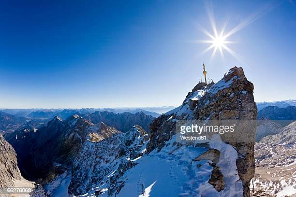 Germany, Bavaria, Wetterstein mountains, Zugspitze, Summit cross