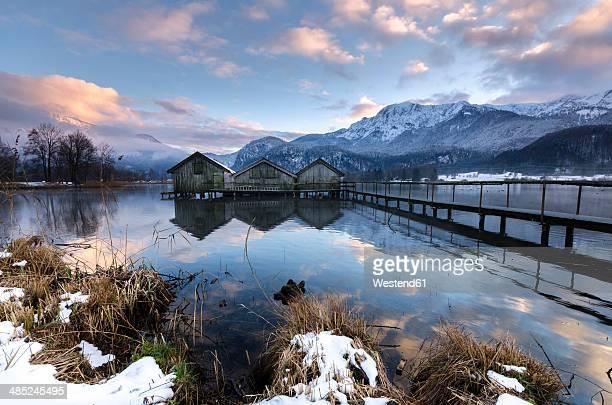 Germany, Bavaria, winter on the Lake Kochelsee near Garmisch-Partenkirchen