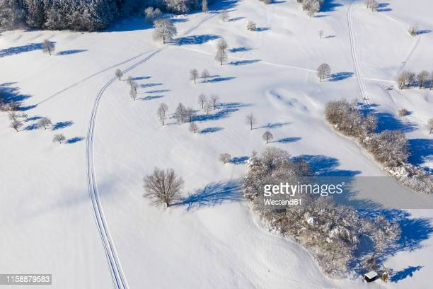 germany, bavaria, wolfratshausen, loipe near golf course in winter, aerial view - nordic skiing event stock pictures, royalty-free photos & images
