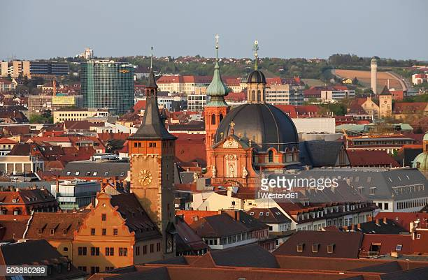Germany, Bavaria, Wuerzburg, Old town in the evening