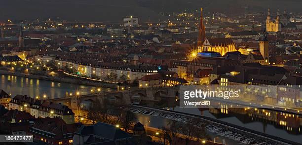 Germany, Bavaria, Wuerzburg, View of city at night