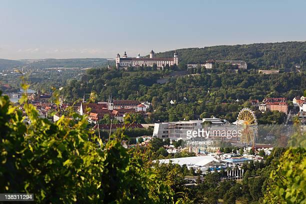Germany, Bavaria, Wuerzburg, View of kiliani fair and fortress marienberg