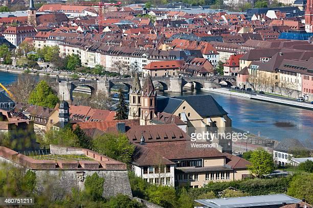 Germany, Bavaria, Wurzburg, View from Marienberg Fortress near Main River