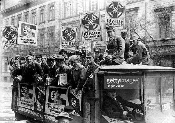 Germany. Beginning of nazism. Elections at the Reichstag. Lorry with posters of the German popular party in the streets of Berlin.