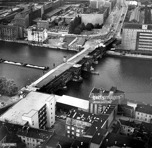 Germany Berlin aerial photo of the Spree river and the bridge Oberbaumbruecke with the checkpoint