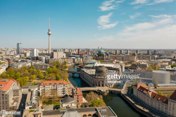 germany, berlin, aerial view of bode museum with fernsehturm berlin in background - berlin stock pictures, royalty-free photos & images