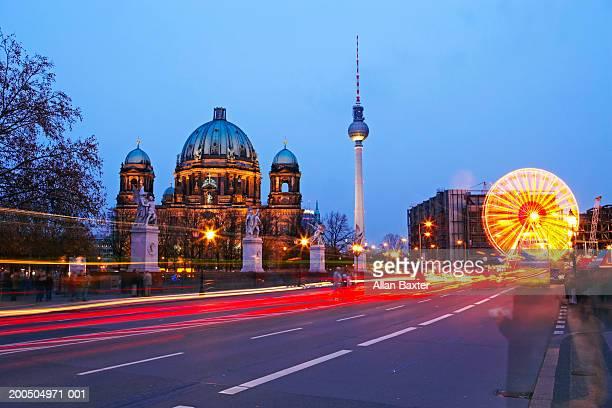 Germany, Berlin, Alexanderplatz, dusk (long exposure)