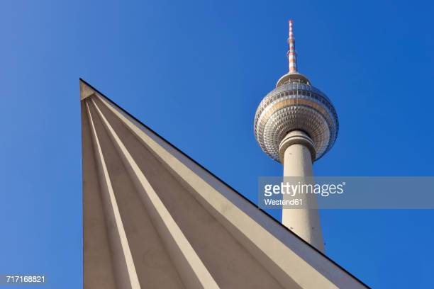 Germany, Berlin, Alexanderplatz, Low angle view of television tower