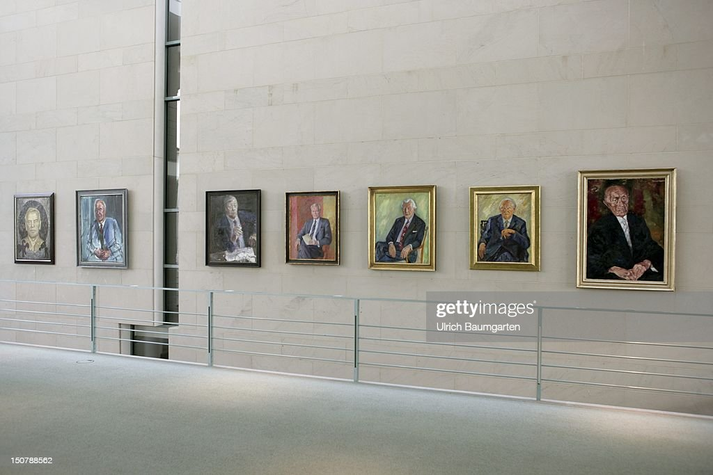 Germany, Berlin, Ancestral portrait gallery in the chancellery: the former chancellors (f,r,) Adenauer, Erhardt, Kiesinger, Brandt, Schmidt, Kohl, Schroeder. : News Photo