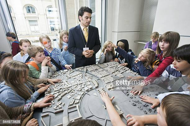 Germany - Berlin - Berlin: Guided tour for children in the Reichstag building, domicile of the German parliament, Deutscher Bundestag. Model of the...