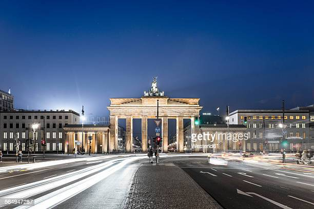 Germany, Berlin, Berlin-Mitte, Brandenburg Gate, Place of March 18 at night
