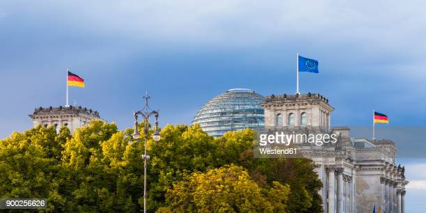 germany, berlin, berlin-tiergarten, reichstag building with flags - regierung stock-fotos und bilder
