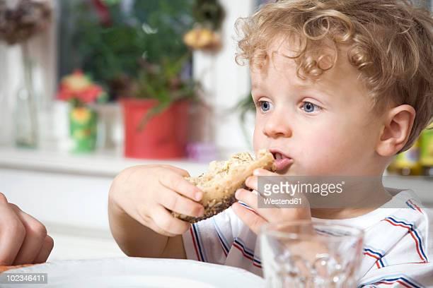 Germany, Berlin, Boy (2-3) eating bread roll, close-up