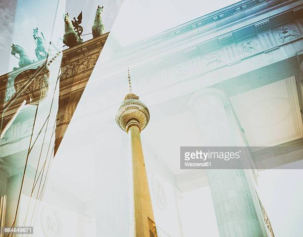 germany, berlin, brandenburger tor and televison tower, double exposure - デジタル合成 ストックフォトと画像