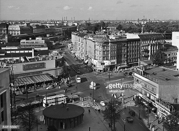 Germany Berlin Charlottenburg - Boulevard 'Kurfuerstendamm' at the corner 'Joachimstaler Strasse' with pastry shop 'Kranzler'. - around 1954