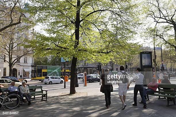 Germany Berlin Charlottenburg - Boulevard 'Kurfuerstendamm' at the corner 'Schlueterstrasse' in springtime.